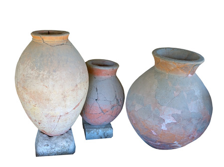 greek pot: Ancient greek amphoras on white background