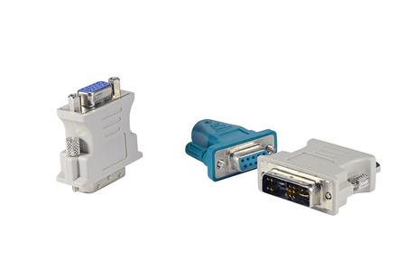 vga: DVI to VGA adapter isolated on white