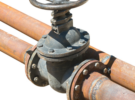 old metal pipe with valve on white background Stock Photo