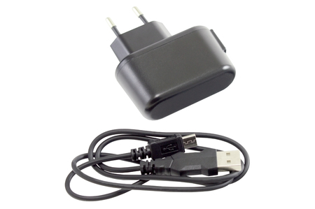 ACDC adapter  on white background. Stock Photo