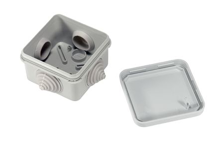 plastic electrical junction box isolated on white background