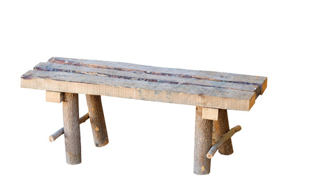 old wooden bench on white background