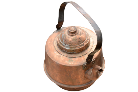 old copper kettle on white background Stock Photo