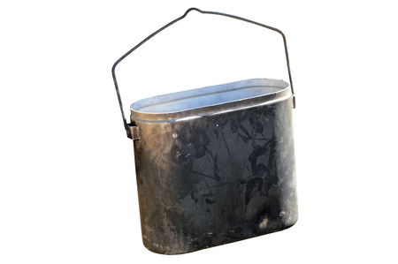 sooty: sooty bucket hanging on hooks on a white background