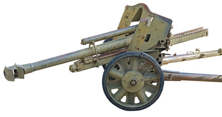 vehement: Old German cannon isolated on white