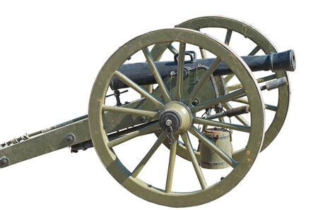 Ancient wheeled cast iron cannon isolated on white background Stock Photo