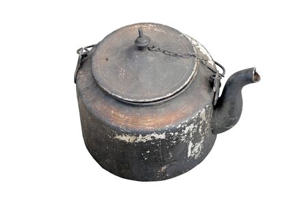 sooty: Old sooty kettle on a white background