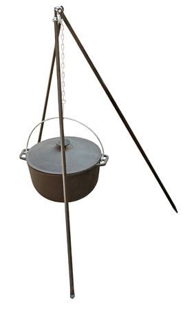 big black kettle for campfire on tripod