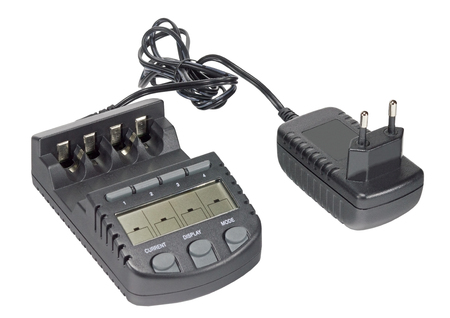 the new Battery charger on white background Stock Photo