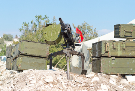 weaponry: grenade launcher on position from the boxes Stock Photo