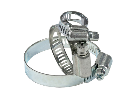 three metal clamp on white background