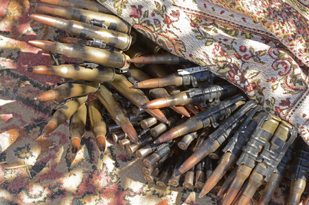 troop: Machine-gun tapes of different caliber, a close-up