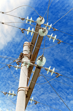 Electrical tower on background of sky Stock Photo