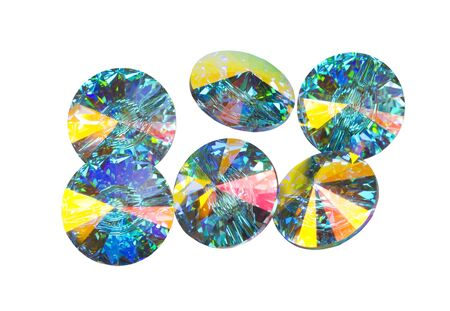 Multi coloured crystals isolated on white Stock Photo