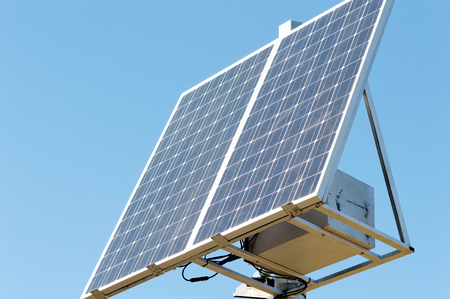 new solar panel on the sky background Stock Photo