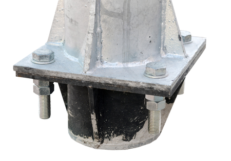 bolt screwed into the metal construction