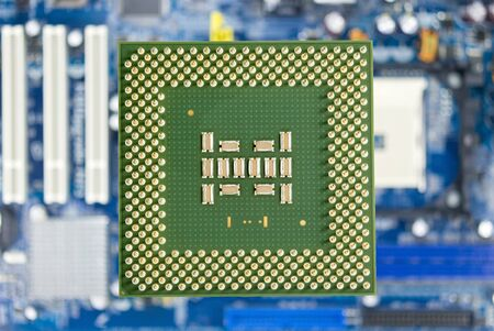 Modern CPU on background computer motherboard Stock Photo