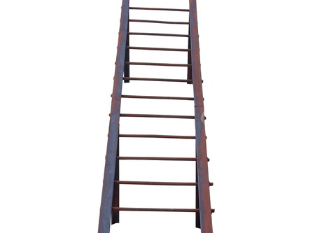 backstairs: rusty iron ladder on white background
