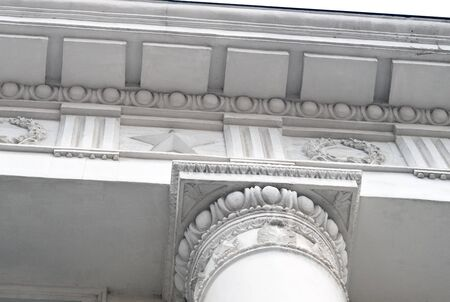 roman column: Overhead part of large white columns Stock Photo
