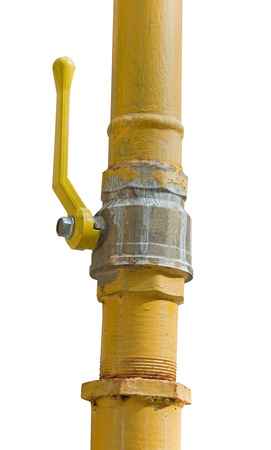 metal pipe with valve on white background Imagens