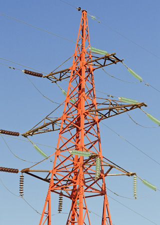transmit: Electrical tower on a background of the blue sky