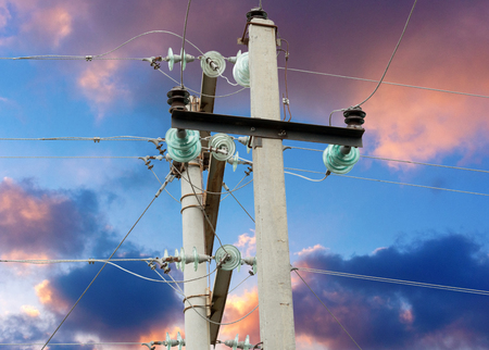 transmit: Electrical tower on background of sky Stock Photo