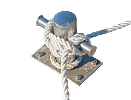 Mooring rope and bollard on white background