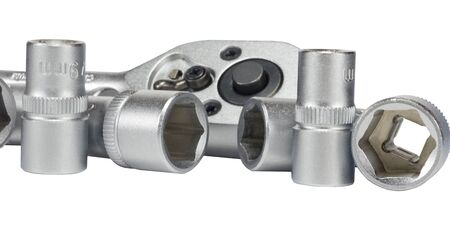 Set of chromeplated wrenches, on a white background