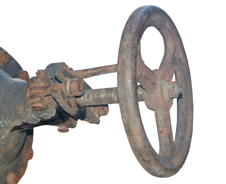 Rusted valve on white background Stock Photo
