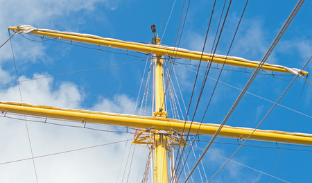 Mast and guy cables of sailing vessel Stock Photo