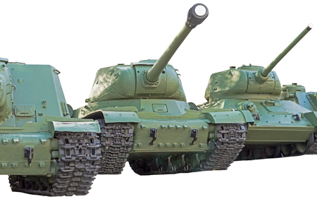 Soviet tanks of period of the second world war on white background Stock Photo