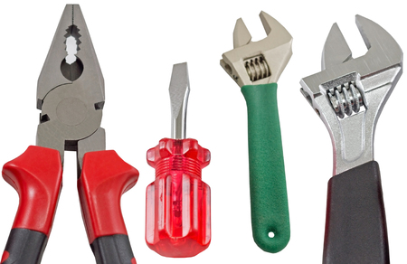 Set of tools over white background Stock Photo