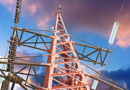 engine: electric tower high voltage post with blue sky