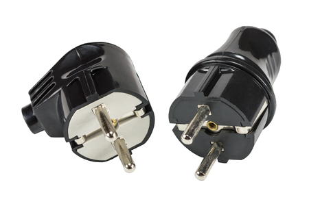 power cables: Electric plugs on white background