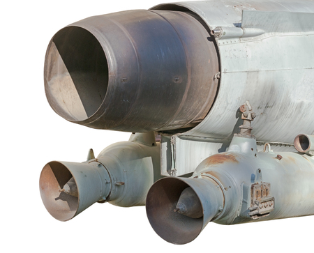 munition: rear part of Russian missiles on white background