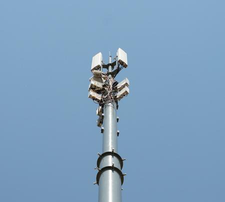 背景の青空に携帯のアンテナとタワーします。 写真素材