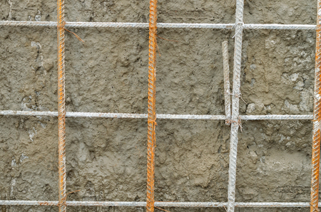 metal grid: metal profile made of bended and tied reinforcing rod in a square shape Stock Photo