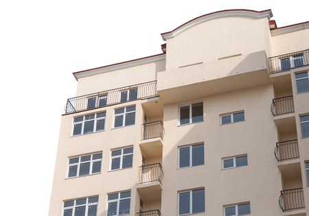 front house: Modern, new executive apartment building on white background