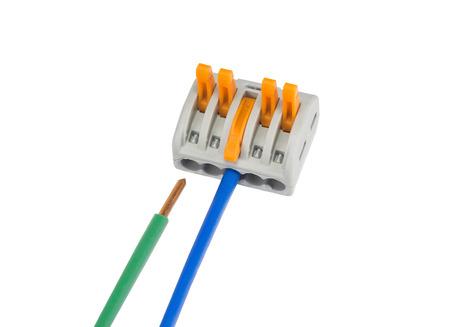 通信: New compact splicing connector with connected wire isolated on white background