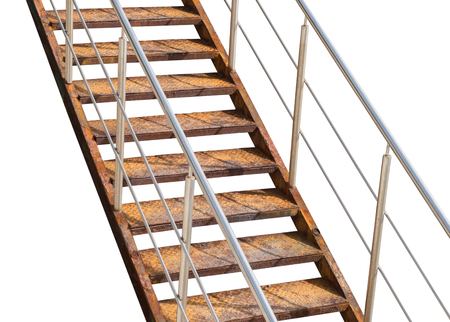 backstairs: Old rusty metal ladder on white background Stock Photo