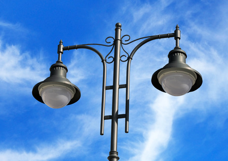 street lantern  on background blue sky Stock Photo