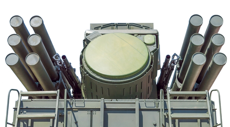 combined: Pantsir-S1 (SA-22 Greyhound) missile and anti-aircraft weapon system on white background Stock Photo