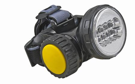 small head-mounted flashlight on white background