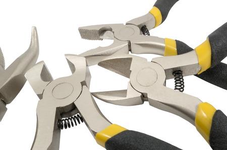 흰색 배경에 고립 된 모듬 된 손 도구