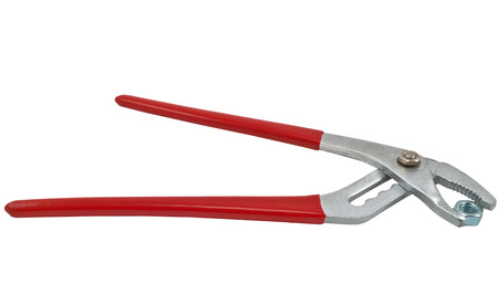 Red pliers and nut