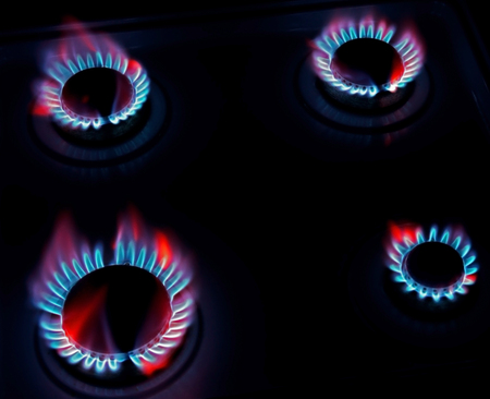 appliances: burning on a gas stove in the kitchen