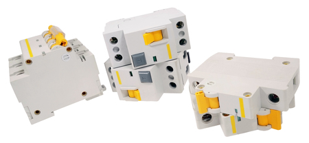 Automatic circuit breaker, isolated on a white background Stok Fotoğraf - 82720291
