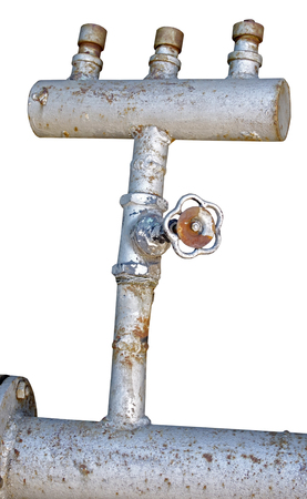 industrial pipes on white background Stock Photo