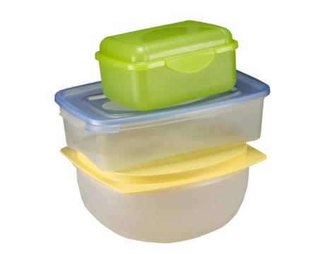 白い背景に分離された食品用空容器 写真素材