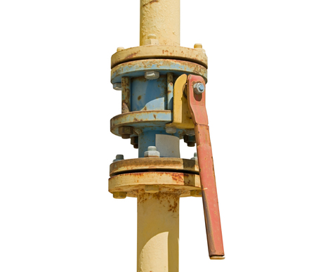 metal pipe with valve on a white background